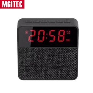 Hot selling fabric bluetooth speaker with USB Charging ,FM radio Dual Alarm Bluetooth Clock Speaker for bedroom