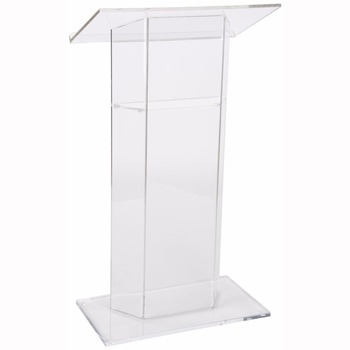 Hot Sale Custom Simple Clear Crystal Stage Podium Acrylic Lectern Pulpit With Inner Shelf for Church,School