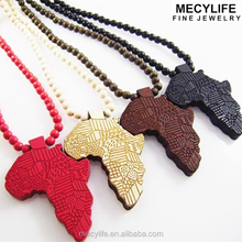 MECYLIFE Fashion Africa Beads Necklace Wood African Map Pendant