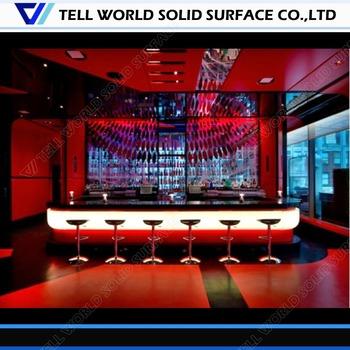 Attirant Refrigerated Bar Counter/Red Corian Bar Top/Marble Bar Table
