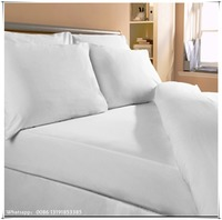 White hotel elastic fitted sheet hospitality bedding sets