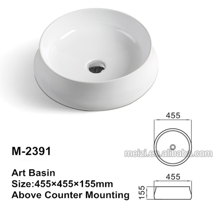 Ceramic vessel round bowl bathroom sink wash basin