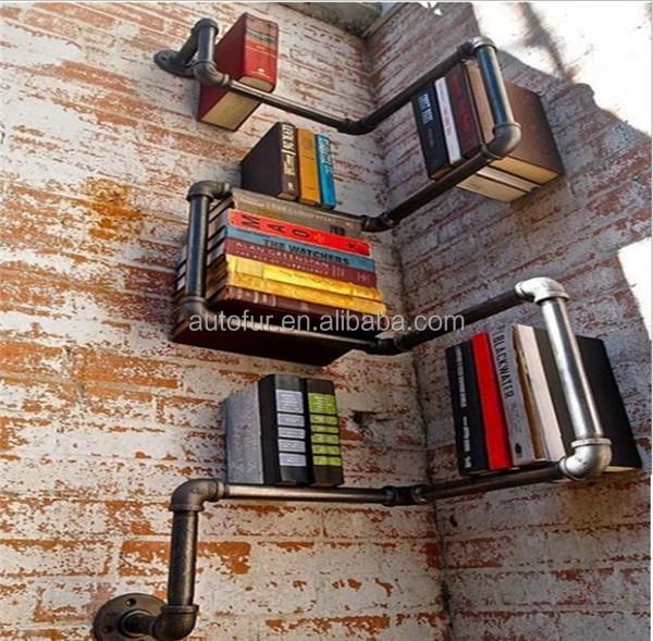 rustique industrielle primitative r g n r tuyau acajou tag re murale garde robe id de produit. Black Bedroom Furniture Sets. Home Design Ideas