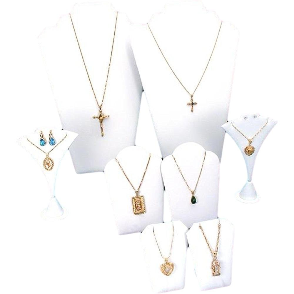 8 Pc Set White Leather Necklace Chain Jewelry Displays