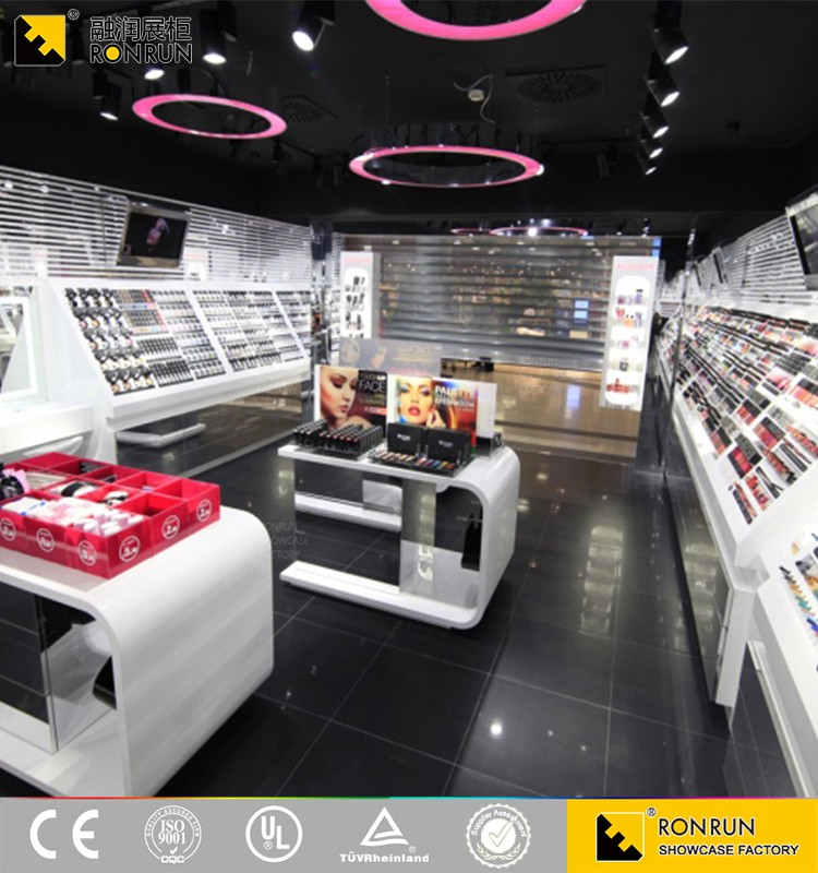 RCF1169 2017 hot selling cosmetic display rack cosmetic display counter design cosmetic store layout design