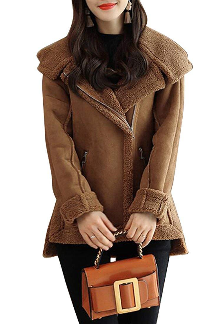 KLJR-Women Outwear Thicken Biker Sherpa-Lined Faux-Fur Jacket Coat