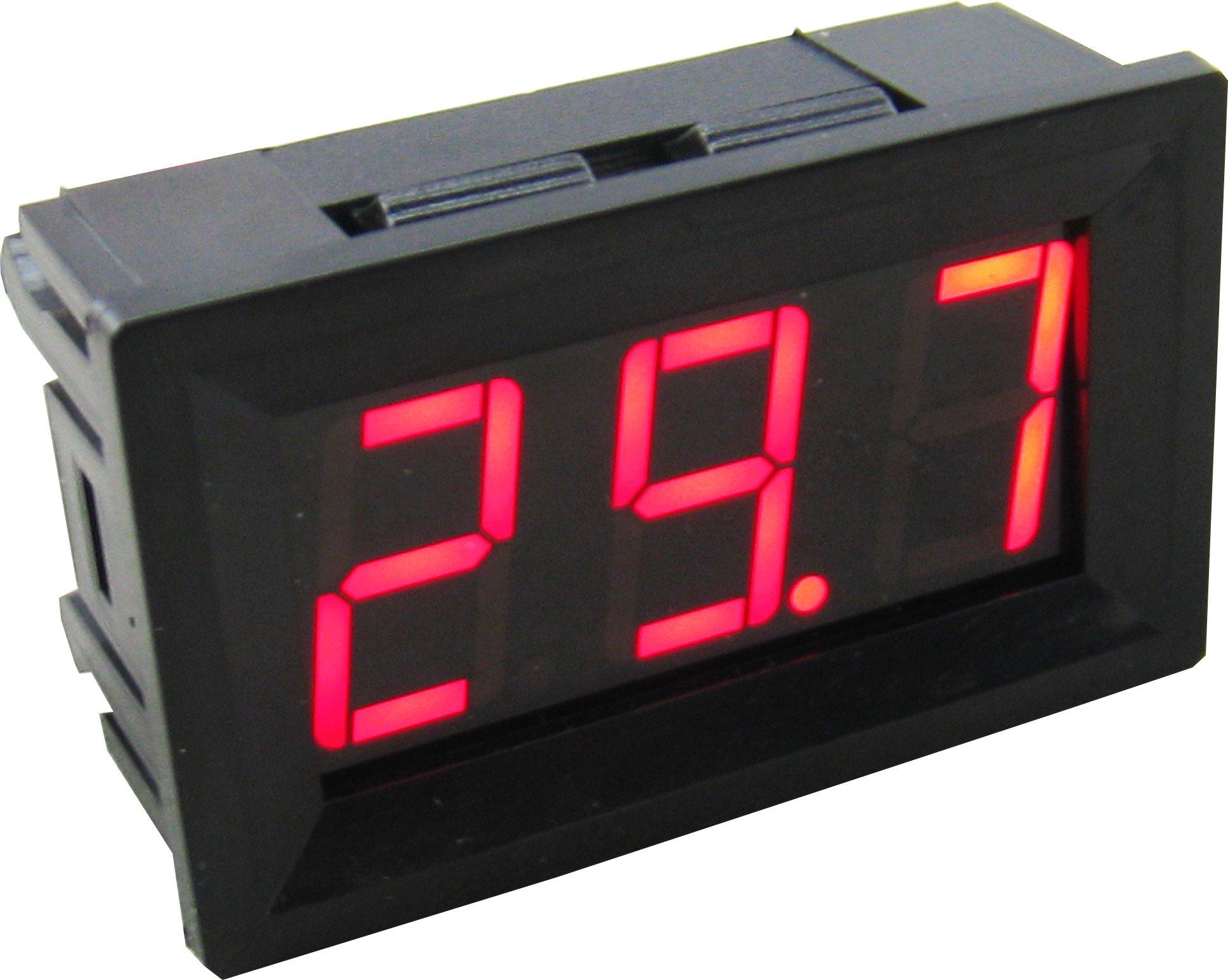 Yeeco -50-110 °C Degrees Celsius Digital Thermometer Car/Motor Temperature Panel Meter Temp Gauge Monitor Red Led Display with Waterproof B3950-10k Probe Sensor DC 12V Black Shell