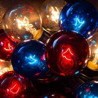 Patriotic Globe String Lights, 1.5 Inch Bulbs, 50 Feet Black Wire, C7 Strand, Indoor Outdoor Light, Bistro Lights, Tent Strand, Patio String Light, End to End Connectable, (Red White & Blue)