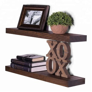 Custom logo FSC certified rustic finished wooden hidden floating shelf brackets wall mounted shelves