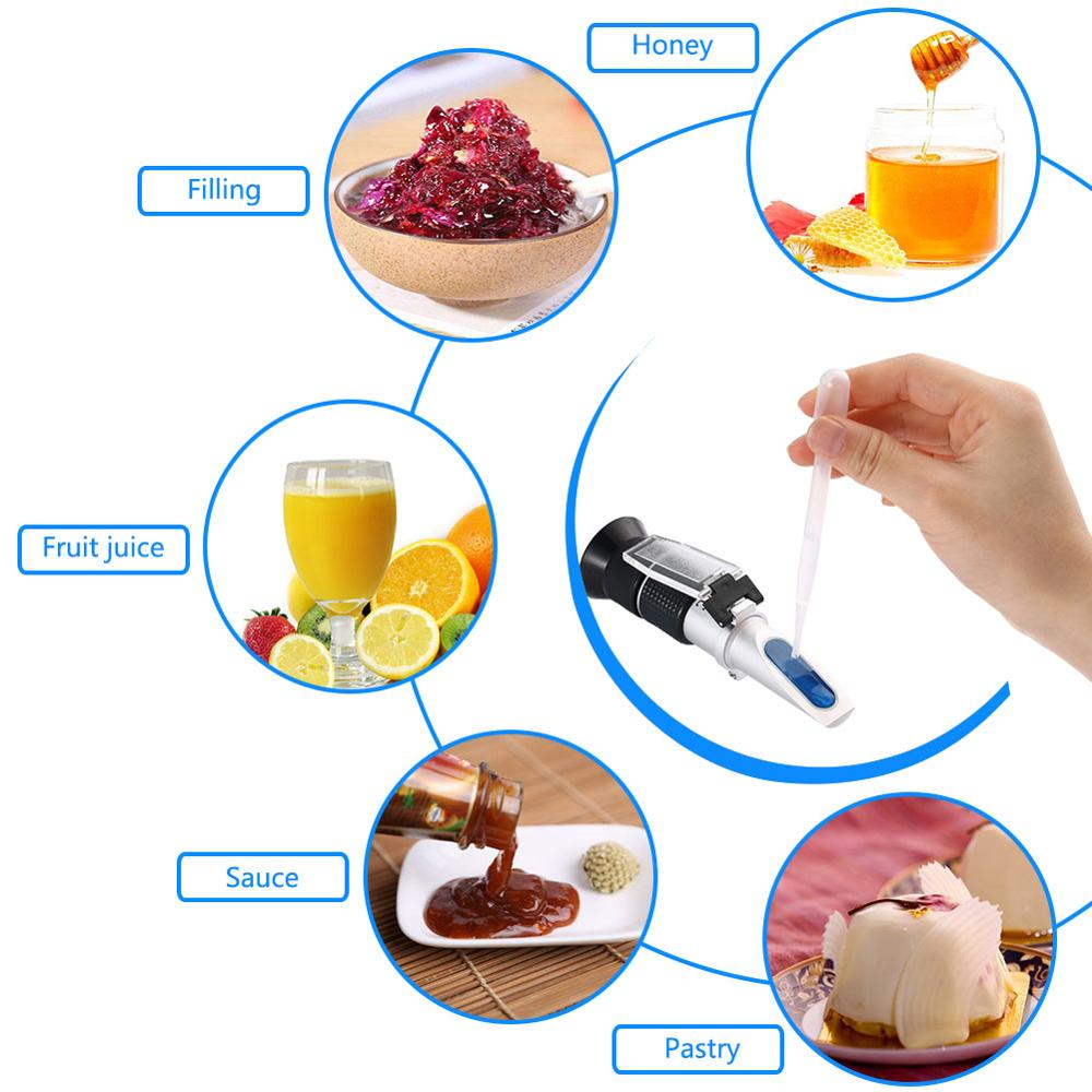 0-90% Handheld Refractometer Brix Scale Honey Sugar Content Sugar Food Sweetness refractometer for oil testing