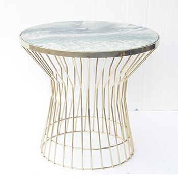 Stainless Steel Base Marble Round Edge Coffee Table Frame Mesh Wire