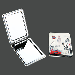 Professional Personalized Square Pocket Touch Up PU Mirror Outdoor Portable Square Mini Hand Mirror