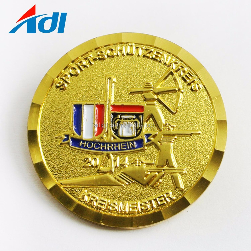 Custom seven wonders of the world souvenirs company logo antique brass coin