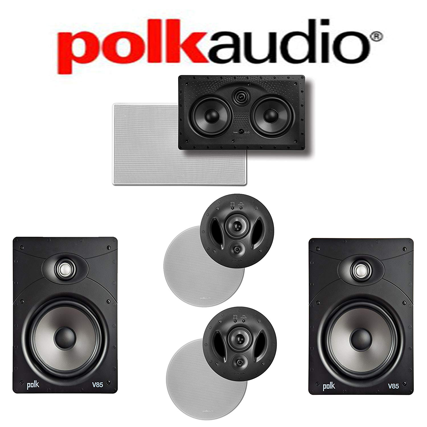 Polk Audio 900-LS + Polk Audio V85 + Polk Audio 255C-LS 5.0 Vanishing Series In-Wall / In-Ceiling Home Theater System