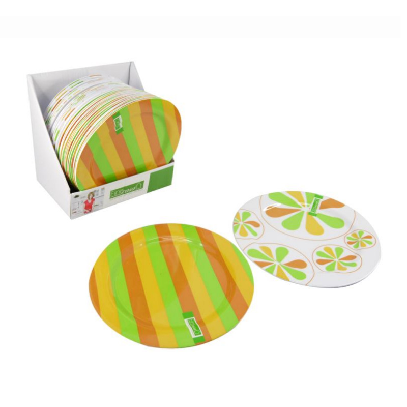 New Arrival Green And White Polka Dots Bulk Breakfast Plate, Round Plastic Melamine Dish