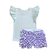 baby clothing wholesale children's boutique clothing baby clothes summer blank white t-shirts match multilayer ruffles shorts