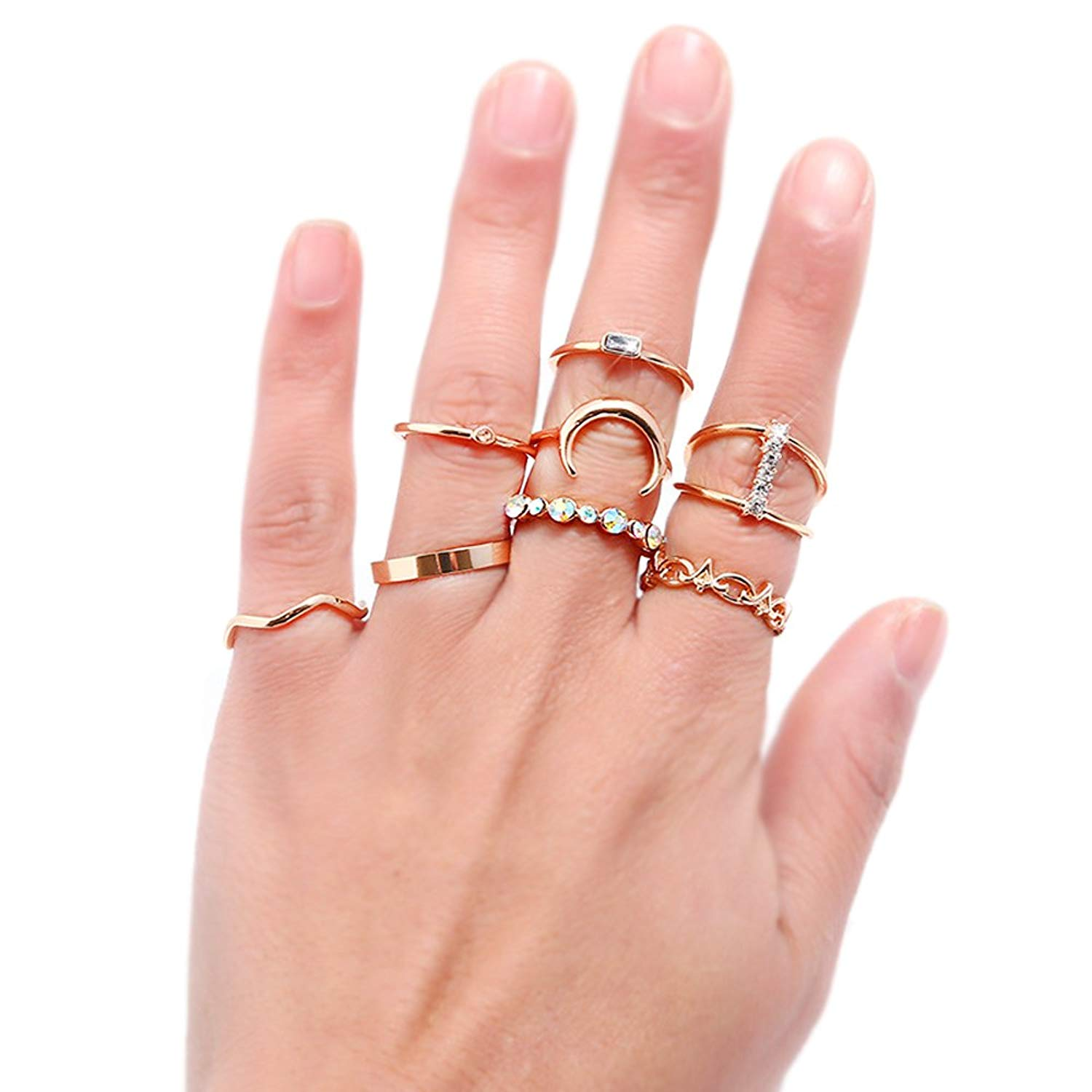 Get Quotations · AMOR SPES 8PCS Rings for Women Knuckle Rings Finger Ring  Toe Rings Beach Jewelry Sets 18K f0af8f359609