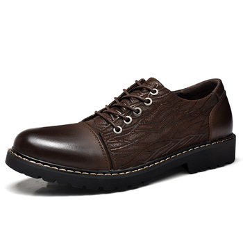 lace up single shoes last fashion design comfortable massage granule insole men dress shoes genuine leather