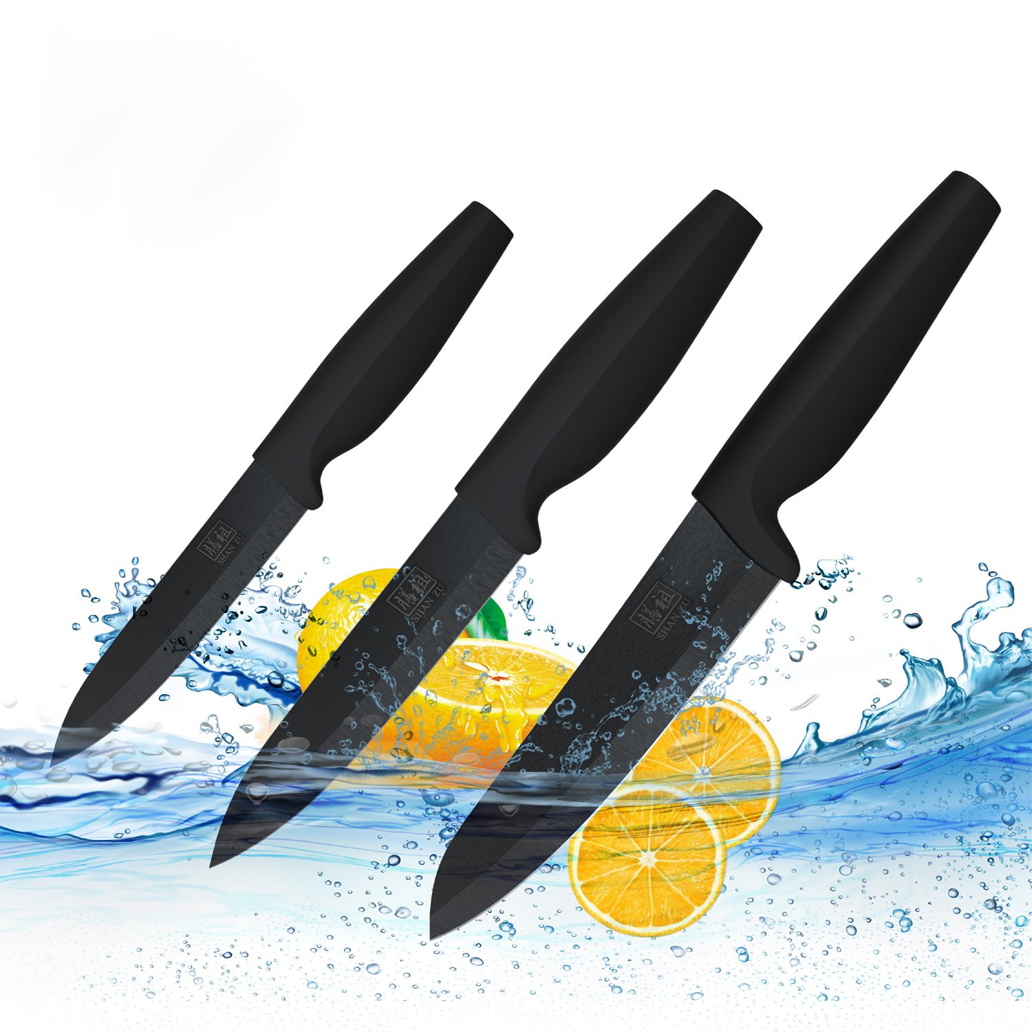 Buy Ceramic Knife Set Black Professional 3 Pieces Sharp Knives With