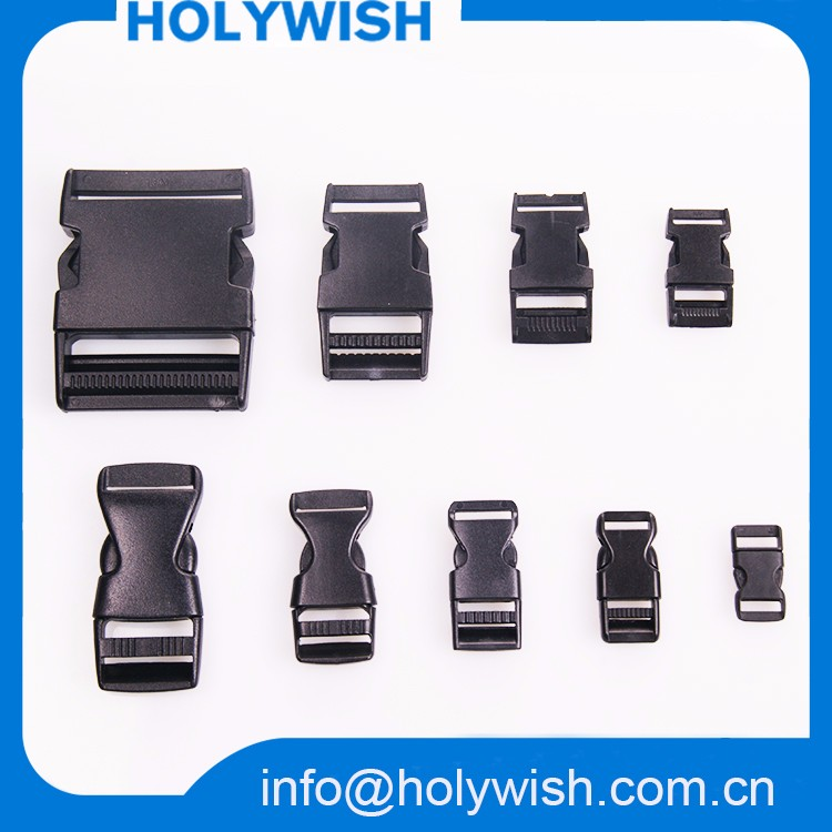 "Wholesale 3/8"" black plastic small buckles"