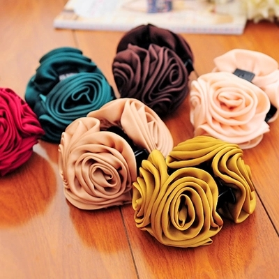 Korean Beauty Ribbon Rose Flower Bow Jaw Clip Barrette Hair Claws for Women Hair Accessories