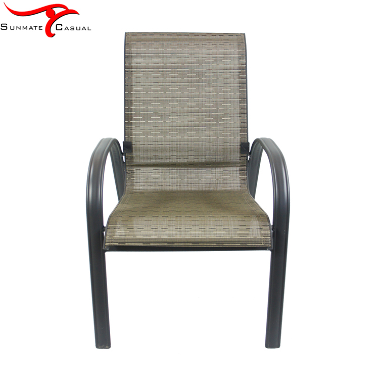 Morden Aluminum Frame Used Outdoor Fabric Sling Stacking Dining Chair