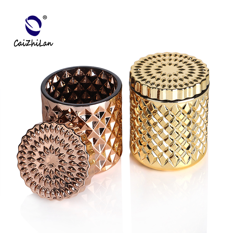 High Quality Beautiful Decal Golden Votive Candle Holder