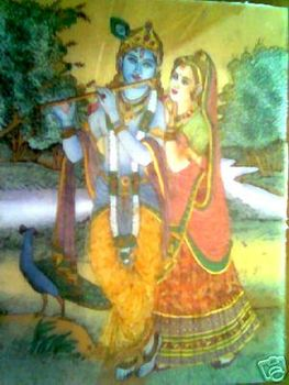 Art Radha Krishna Gem Stone Glass Painting Wall Hanging