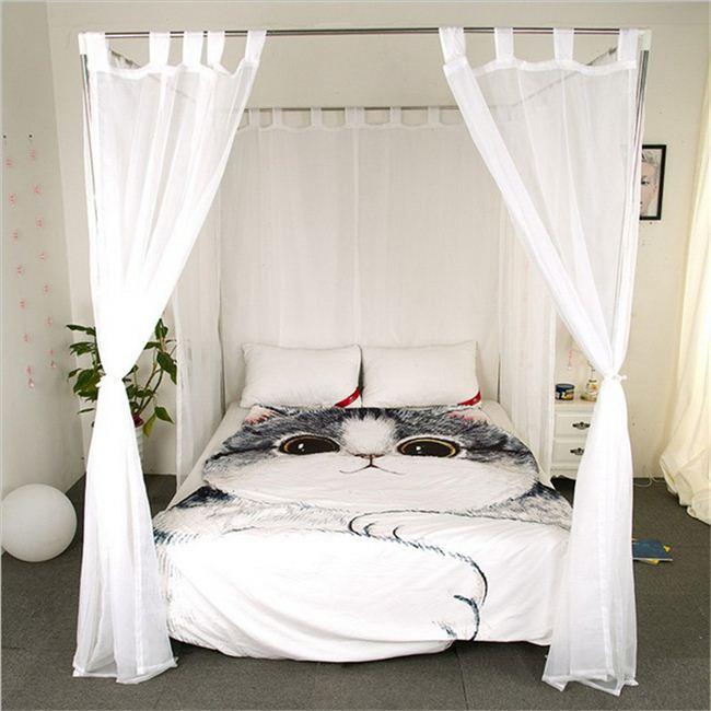 hoge kwaliteit quadrate koningin luifel bed muggen gordijn