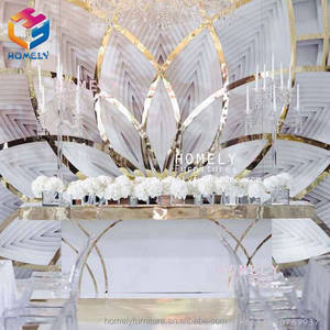 New Design LED Bar Hotel Banquet Hall Party Stainless Steel Glass Crystal Backdrop Flower Mirror Wedding Backdrop