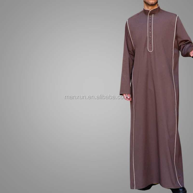 Newest Arabic Men Robe Muslim Apparel Simple Mao Collar Thobe ...