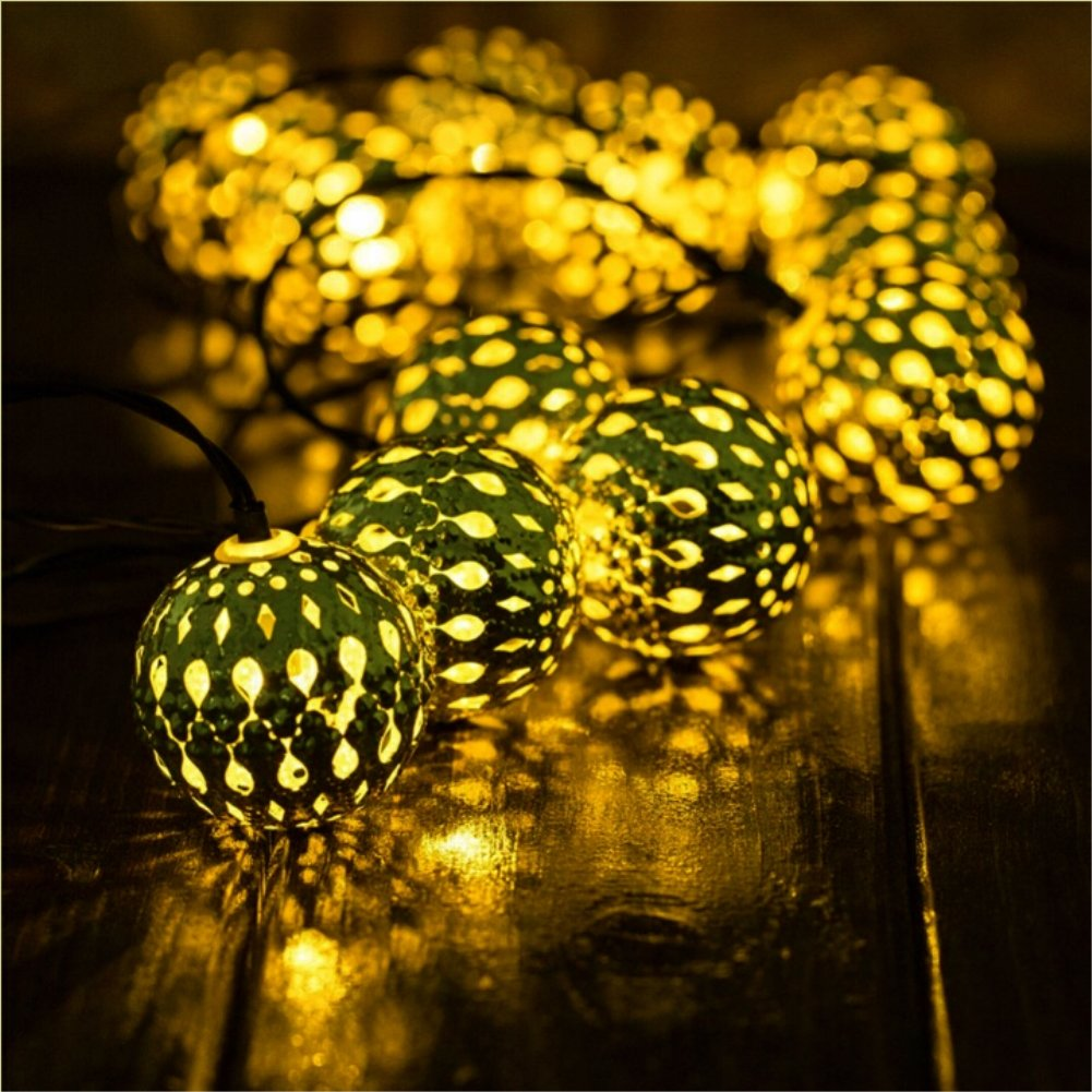 Solar String Light Outdoor, Goodia 30 LED Gold Moroccan Waterproof Warm White String Lights for Curtain,Bedroom,Patio,Lawn,Landscape,Fairy Garden,Home,Wedding,Holiday,Christmas Tree,New Year,Party