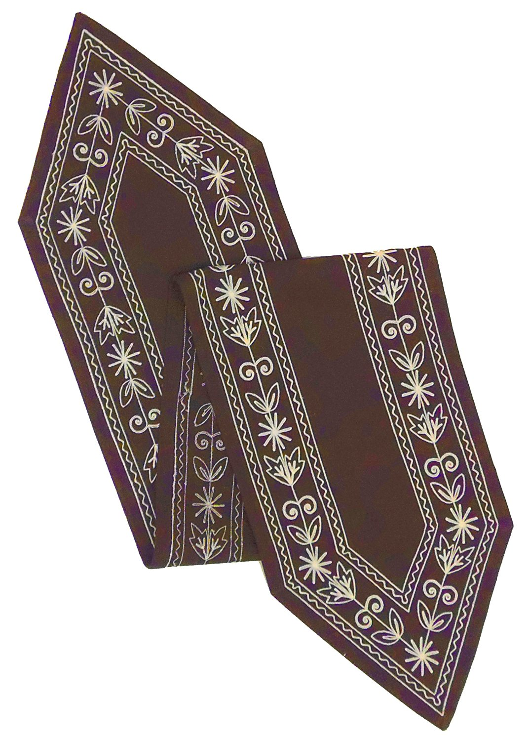 Cotton Craft - Cotton Crewel Embroidery Table Runner - Chocolate - 13x72 Inches - Heavy Duty 100% Cotton Canvas fabric - These beautifully textured and hand crafted table linens are lovingly hand embroidered by skilled artisans - Easy Care Machine Wash
