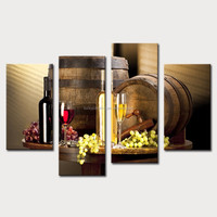 LK477 4 Panel Wine And Fruit With Glass And Barrel Wall Art Painting Pictures Print On Canvas Food The Picture For Home Modern D