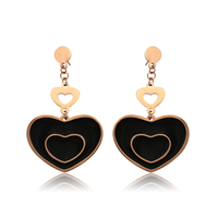 98002 Xuping fashion jewelry multicolor gold plated new design charm heart shape drop earrings for women