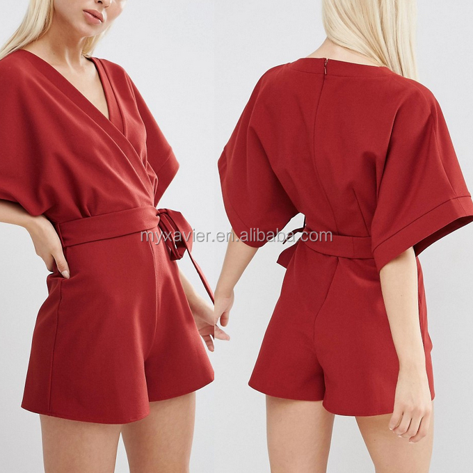 2016 new fashion summer sexy red kimono womens Playsuit With Wrap Front chiffon fitness jumpsuit