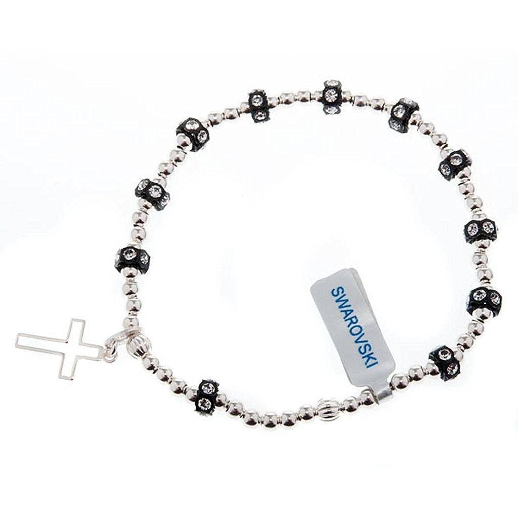 Silver elastic bracelet and Swarovski pearls