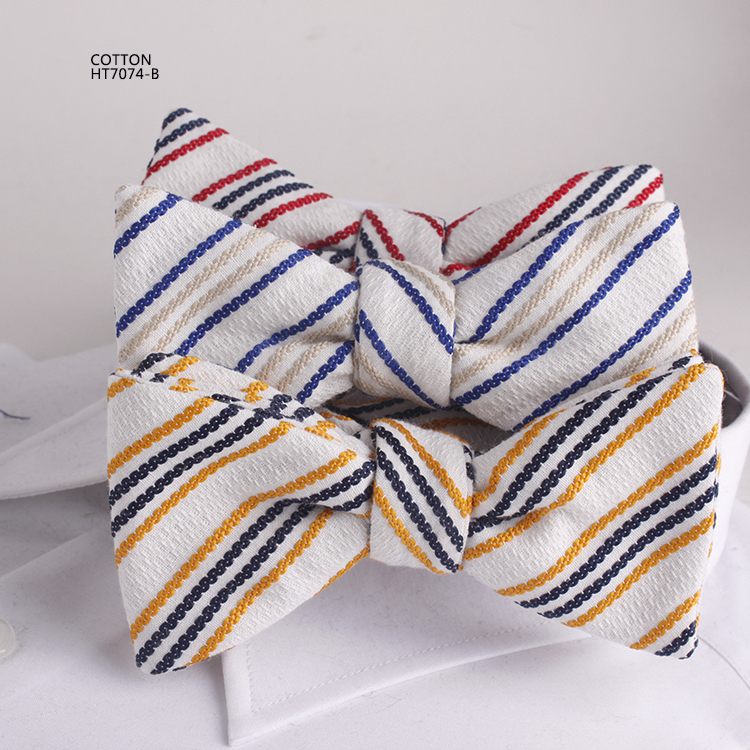 Colorful Stick Out Stripe Mens Cotton Bow Ties Mill China