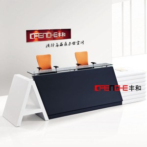Salon simple design standard size photos glass reception counter desk