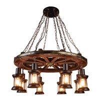 Decorative loft Hanging Chandelier Led Vintage boat Wooden retro Home lamp Creative Pendant Metal Rustic Antique lights
