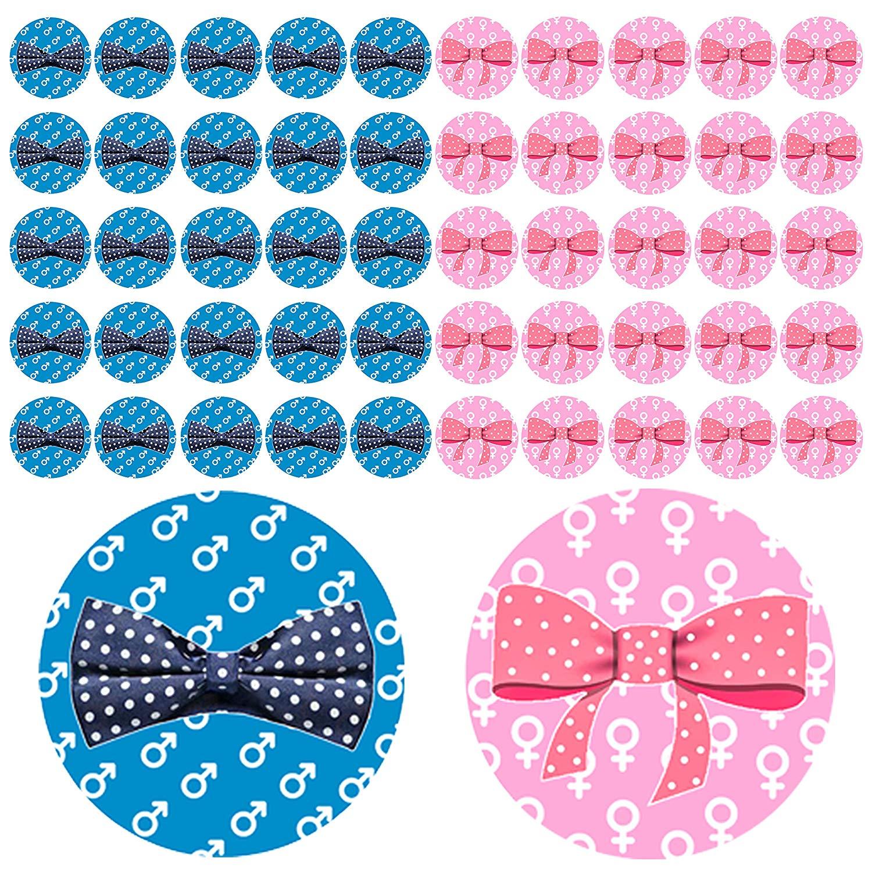 Qyler Gender Reveal Party Labels Baby Shower Voting Stickers (Team Blue & Team Pink)