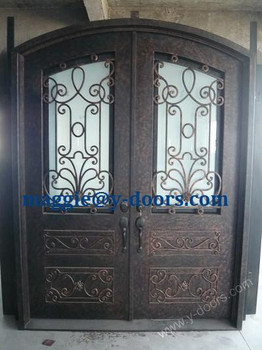 New Arch Wrought Iron Double Door Design With High Kick Plate Steel