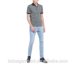 US latest design stand collar with button t shirt 210g cotton white plain collar t shirt