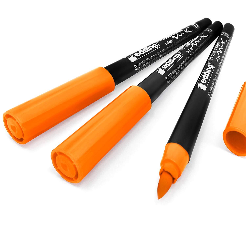 Edding 4200 Porcelain Brush Pen – 1-4mm – Pack of 3 - Orange #6