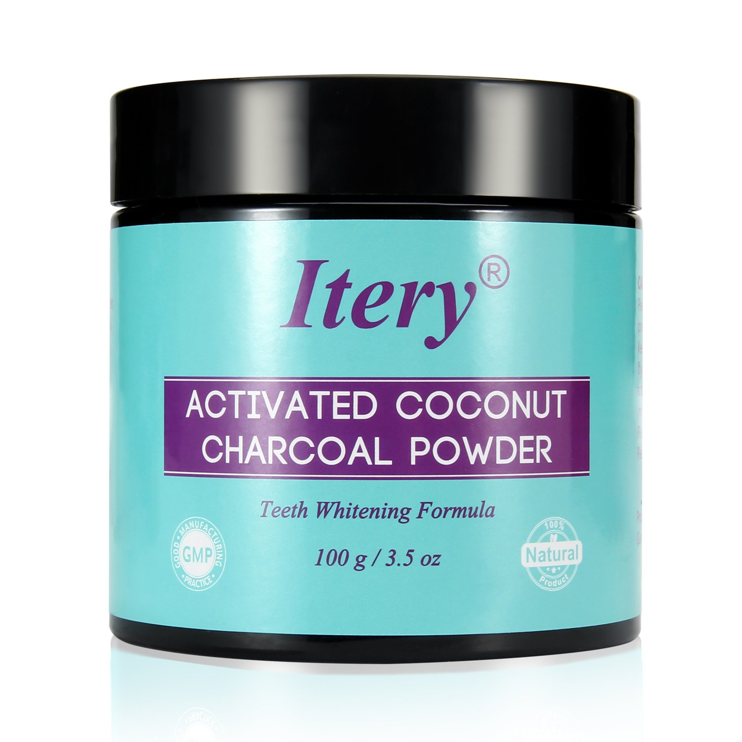 Teeth Whitening Activated Charcoal Powder ITERY Natural Activated Coconut Charcoal Teeth Whitening for Denture Bright Teeth Whitening Dental Care Professional Smile Teeth Whitener 100g/3.5oz