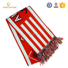 Custom dobby logo fashional knitted football scarf knitting