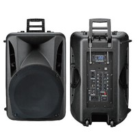 Rechargeable portable bluetooth trolley audio box speaker with usb port