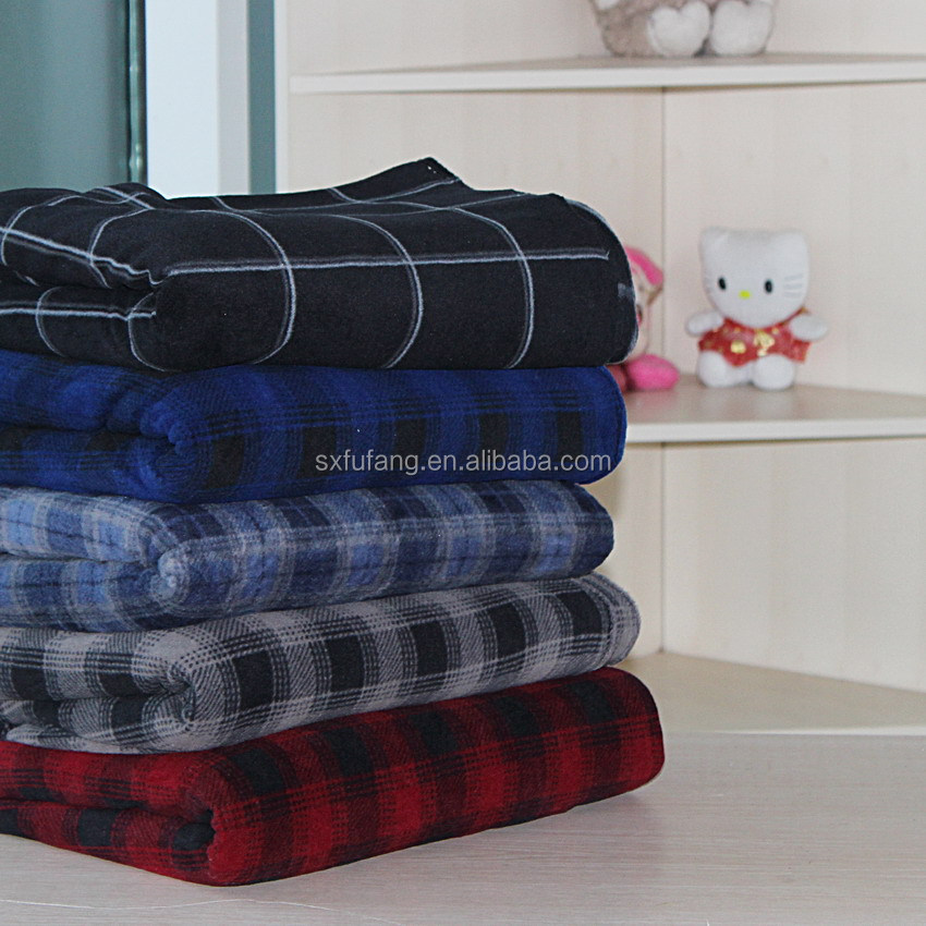 Rotary Screen Fashion Grid Style Baby Blanket comfortable two side brushed Polar Fleece Blanket cheap in bulk