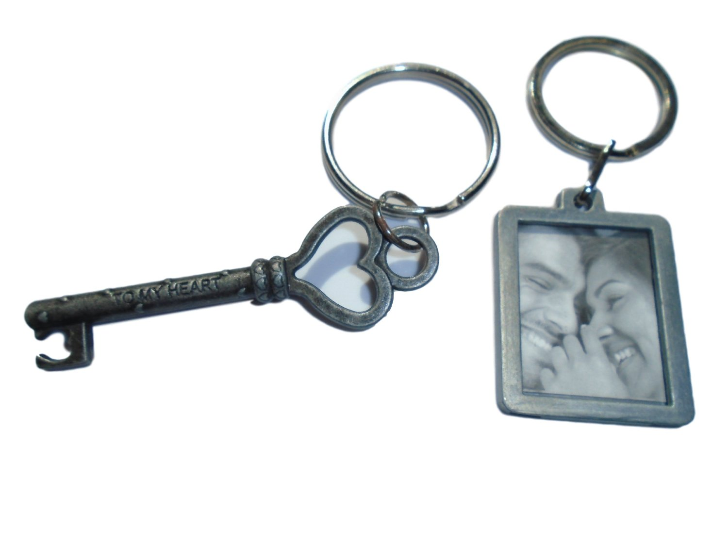 """2 Pack Keychain and Keyring Set - Key to my Heart and Photo Keychain - Great Gift for Those You Love by Butler in the Home (Key to My Heart with """"Love"""" Photo Frame)"""