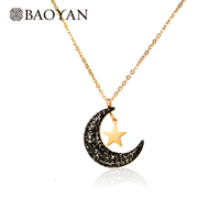 BAOYAN Gold Plated Stainless Steel Crescent Moon Star Necklace For Women